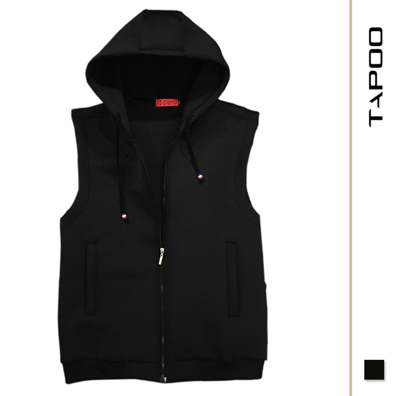 Men's new sleeveless vest loose large size Solid color jacket hooded casual cotton oversized men's hooded Vest jacket 2XL 8XL
