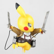 15cm Anime Pikachu Cosplay Attack on Titan PVC Action Figure Model Toy with Retail Box