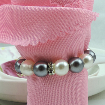 Free Shipping white & gray Pearls Napkin Rings Hotel Wedding Accessories wholesale