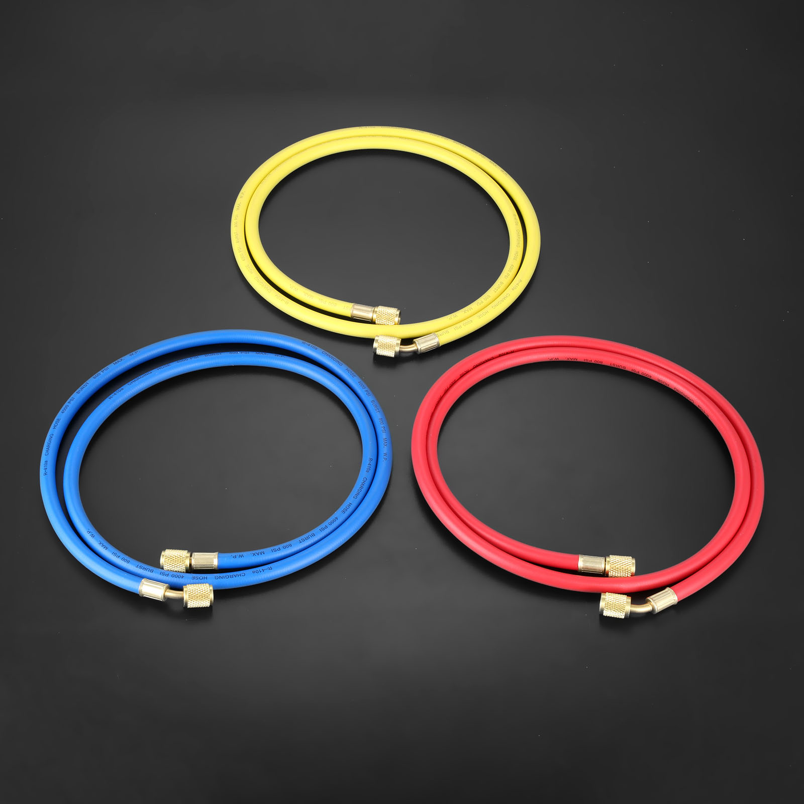 "3Pcs 60"" HVAC 1/4"" SAE R410a R134a AC Refrigeration Permutation Charging Hoses HVAC 800PSI Air Conditioning Hose Mayitr 150cm-in Air-conditioning Installation from Automobiles & Motorcycles"