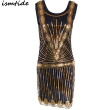 1920s Great Gatsby Dress Sequin Round Neck Flapper Mini Golden Party Summer Sexy Embroidery Sequined
