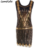 1920s Great Gatsby Dress Sequin Round Neck Flapper Gatsby Mini Dress Golden Party Summer Sexy Embroidery Sequined Dress