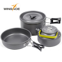 WINGACE Outdoor Camping Walking Utensils Tea Pot Camping Cookware Picnic Set Of Pots Tourist Tableware Kettle Frying Handle Pan