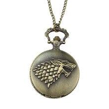 81d5b8f958f6 Reloj de bolsillo de bronce antiguo Juego de tronos casa Strak invierno  viene diseño hombres mujeres reloj Fob COLLAR COLGANTE r.