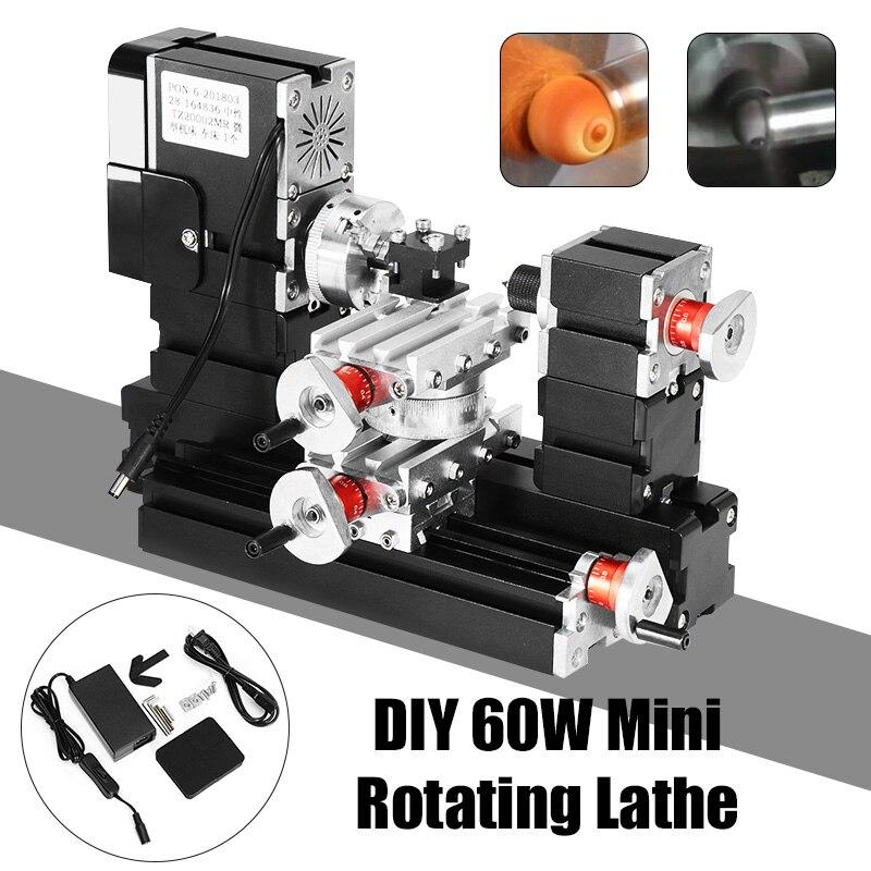 60 w 12000 rpm Mini Rotante In Metallo Tornio FAI DA TE Lavorazione Del Legno Tornio di Legno Modello di Strumento di Creazione di Fresatura Macchina Kit