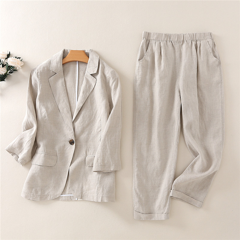 Spring and summer Korean temperament small suit cotton and linen women s fashion casual linen suit