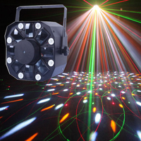 New 150mW Multi Effect 3 in 1 Laser Stobe Moonflower RG moving laser DJ Part Light with Colorful Strobe effect 8 white LEDs, DMX