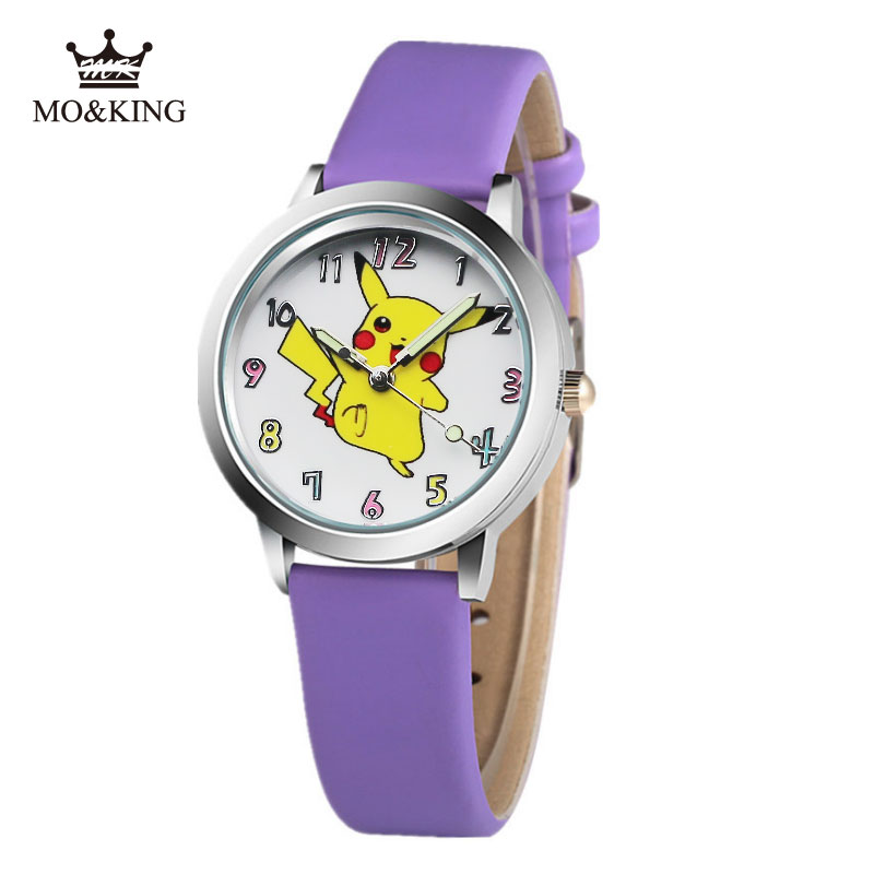 2019 New Lovely Kids Leather Watches Children Cartoon Pikachu Watch Clock Boys Hours Girls Children's Gifts Montre Pour Enfants