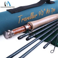 Free Shipping Half Well FAST ACTION Carbon Fiber Fly Rod 9FT 6 With Cordura Tube TRAVELLER