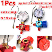 1pcs 1 4 To R410A R134A R22 Refrigerant High Low Pressure Gauge Stainless Steel Air Conditioner