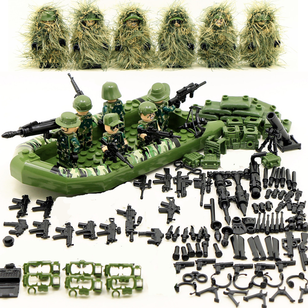 6pcs Armed forces Army MILITARY SWAT Seals Camouflage Soldiers Marine Corps Building Blocks Brick Figures Toys Gift Boy Children 6pcs swat team city police world war 2 military soldier army special forces building blocks brick figures toys boy gift children
