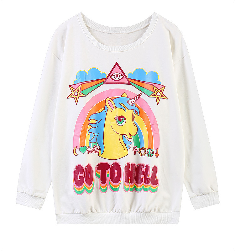 2016 Swag Unisex Harajuku Style Unicorn Hoodies My Little Pony Rainbow Dash Go To Hell Printed