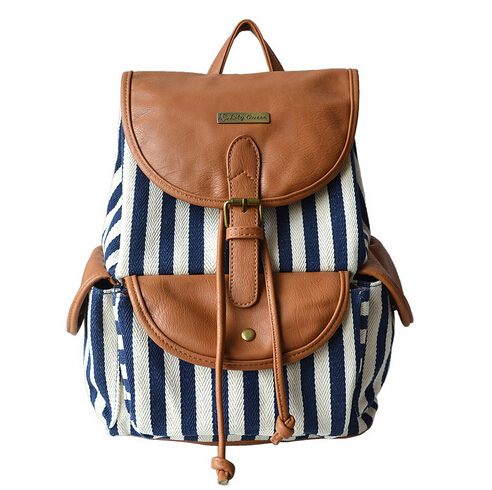 Women striped drawstring backpack small canvas book bag vintage ...