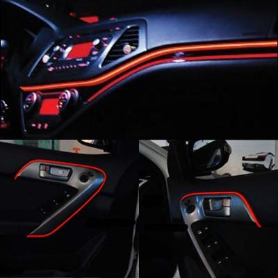 1pcs Red 3M Sound Control EL Wire Glow Rope Car Party Flexible Neon ...