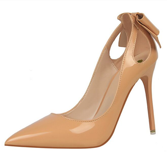 Size 4 8 Autumn Sexy Nude font b Women b font Shoes 6 Color Bowties High