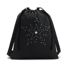 High Quality Drawstring Bags Travel Sports Shoe Dance Bag Unisex Travel Storage Backpack Black Printed Bag