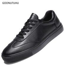 2019 new fashion mens Vulcanized shoes casual leather breathable platform big size shoe man classics black white for men