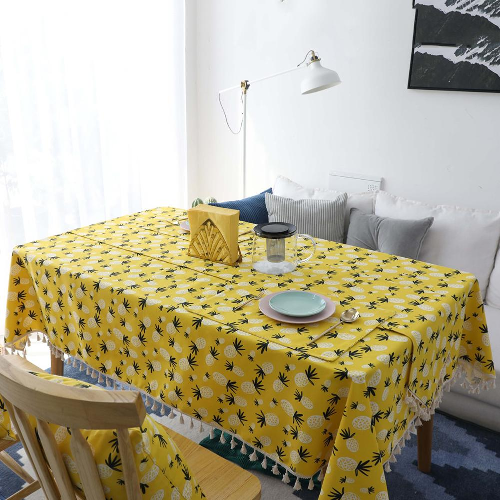 Pineapple Printing Dining Tablecloth Anti-dirty Cotton Linen Fabric Table Cloth with Tassel for Wedding Banquet Table Towel