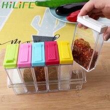 Hilife 6 шт./компл. банки соль перец коробка для порошка тмина бутылка для хранения Кухня специй прозрачныая полипропиленовая Материал коробка с приправами
