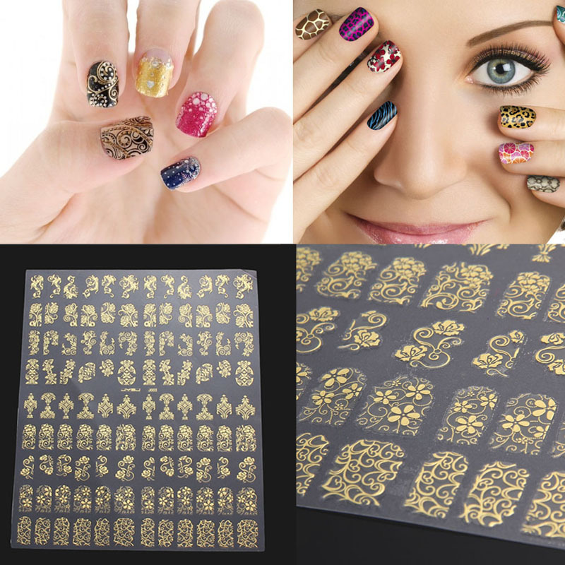 108Pcs/Sheet 3D DIY Nail Stickers Golden Silver Pink Flower Design Nail Art Stickers Decal Manicure Nail Tips Design Decals hot sale 12 styles pink flower designs 3d art nail stickers woman diy nail art decorations tip nail vinyls decals