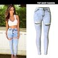 Otoño Nueva Moda Jeans de Algodón Mujeres Sueltan Hight Cintura Washed Vintage Grande Del Agujero Rasgado Lápiz Largo Denim