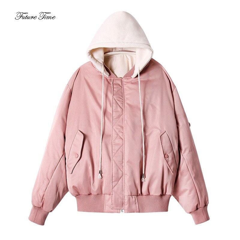 Gentle Women Parkas Korean Style Thicken Winter Baseball Uniform Solid Warm Fashion Hooded Jacket Short Cotton Outerwear Wy175 Parkas