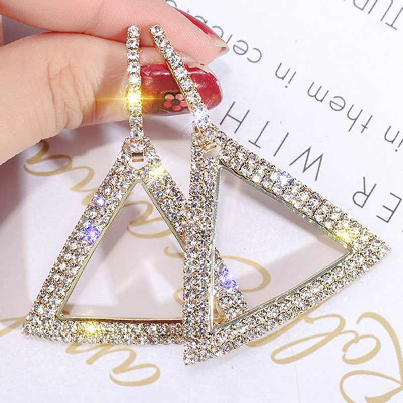 Hot Sale Wife Girlfriend Gift  NEW 1 Pair Fashion Lady Women Thin Large Geometric Shining triangle Earring