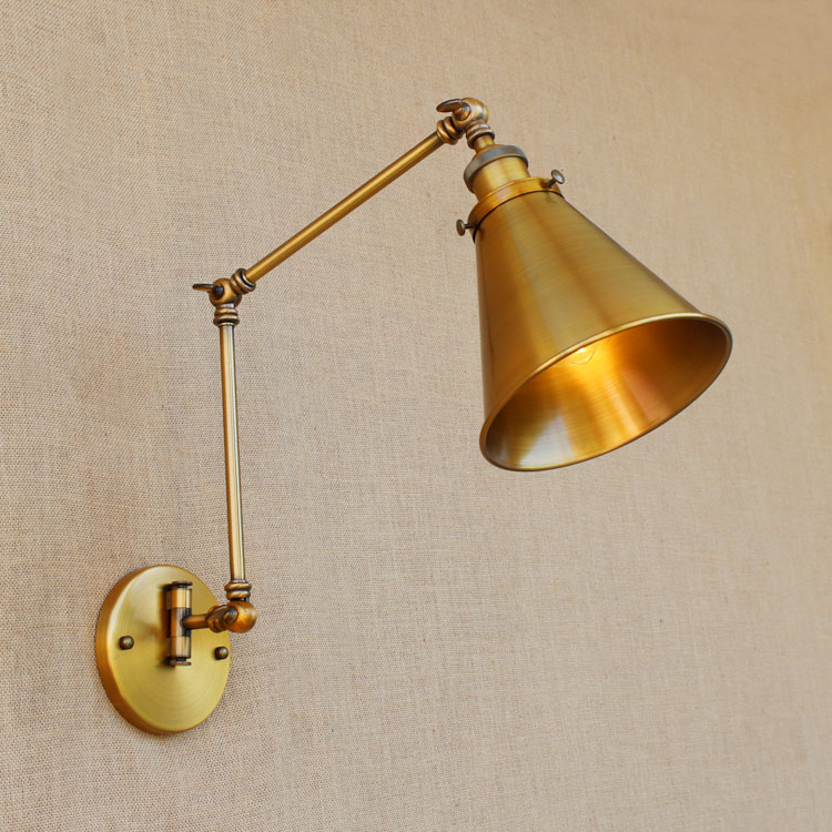ФОТО Copper Retro Loft Vintage Wall Lamp Adjustable Long Swing Arm Wall Light Industrial Wall Sconces Arandelas Lamparas De Pared