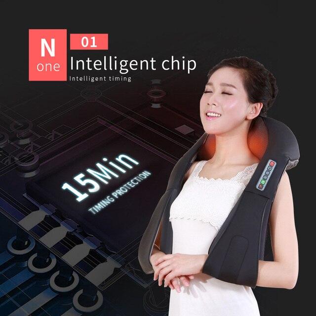 U Shape Electrical Shiatsu Back Neck Shoulder Body Massager Infrared 4D Kneading Massage EU/Flat Plug Car Home Dual Use 16 Balls 4