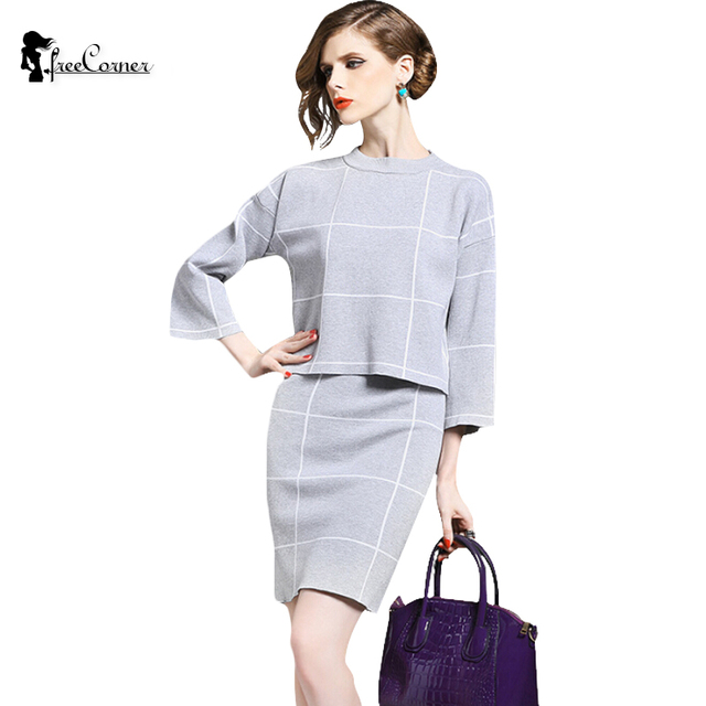 2 Piece Sets New Arrival Sale Women's Tracksuit knitted Pullover Sweaters  2017 Winter plaid skirt suits
