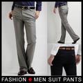De los nuevos hombres del ajustado Casual Formal Pants vestido recto pantalones Smooth negro gris tamaño 28-33 envío gratis