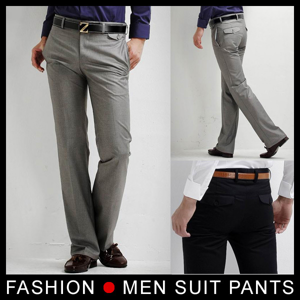 New Men s Slim Fit Casual Formal Straight Dress Pants Smooth Trousers Black  grey Size 28-33 Free shipping 980395702a9e