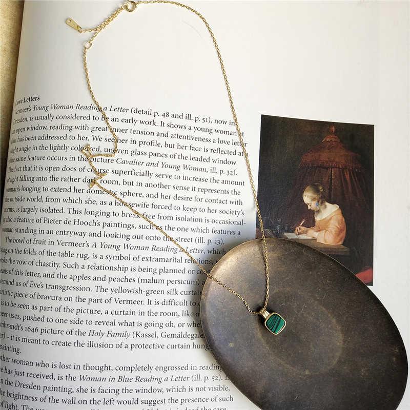 Модные 925 пробы серебро зеленый квадрат малахит камень кулон Цепочки и ожерелья для Для женщин леди короткие ключицы Цепочки и ожерелья украшения подарок
