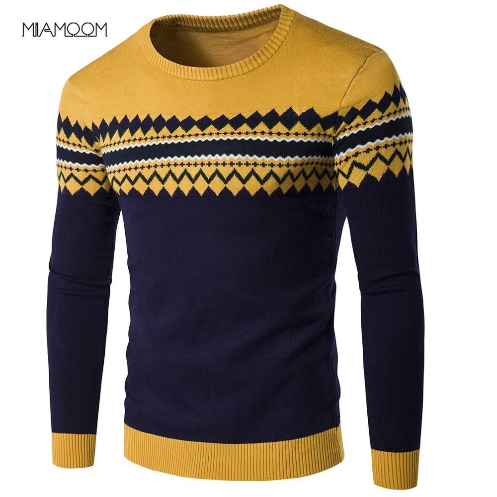 MIAMOOM Men's Sweater 2019 Brand New Autumn Winter Pullover Men Sweaters Cotton Casual O Neck Sweater Male Knitwear