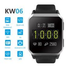 Kingwear kw06 smart watch com slot para cartão sim GSM WCDMA 30 w câmera Android 5.1 para iOS Android pk kw88 X01 m5 GT88 GT08 aptidão