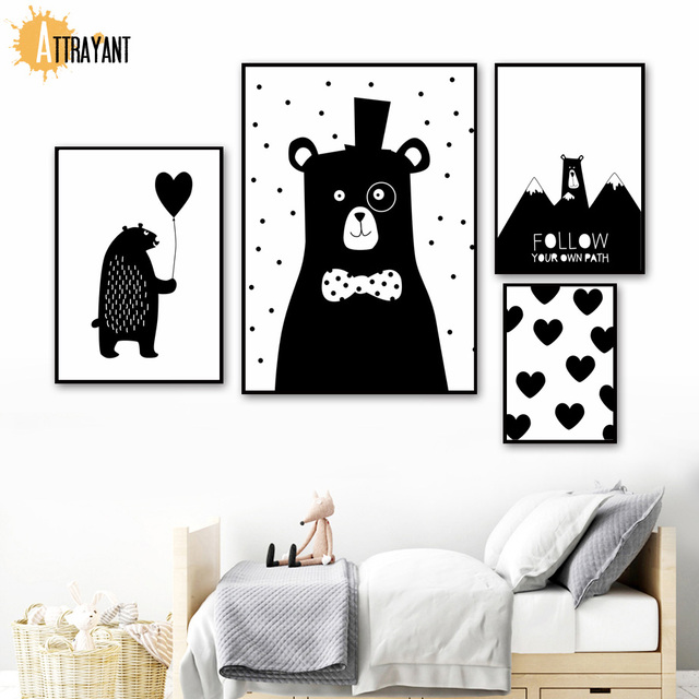 Cartoon Bear Heart Balloon Hill Wall Art Canvas Painting Nordic Posters And Prints Black White Wall Pictures Kids Room Decor