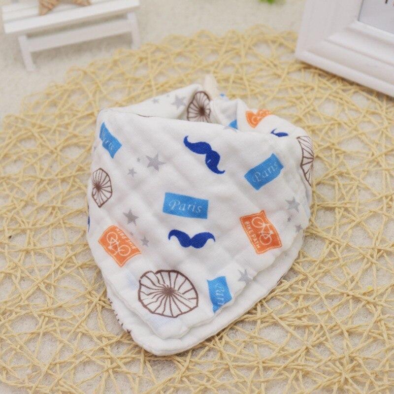 6 Models High Density Gauze Newborn Baby Bibs Cute Cartoon Printing Beard With Hook Buckle Square Scarf Triangle Towel Suction