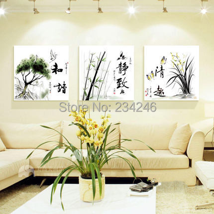 Painting For Bedroom aliexpress : buy 3 panel canvas art chinese words painting for