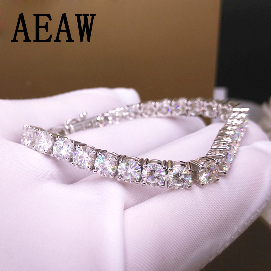 Trendy Style Solid 14K 585 White Gold 18 Carats ct 5mm DF Color Moissanite Diamond Bracelet For Women Test Positive