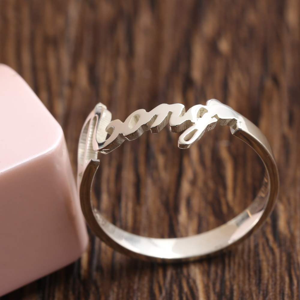 Customized White Gold Color Name Engagment Ring Women Personalized Nameplate  Solid Silver Ring Fashion Jewelry