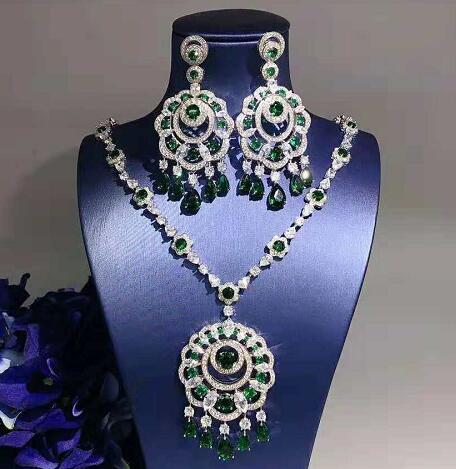 Offre spéciale pendentif en cristal collier boucles d'oreilles ensemble 925 en argent Sterling élégant bijoux ensemble femmes Valentine cadeaux