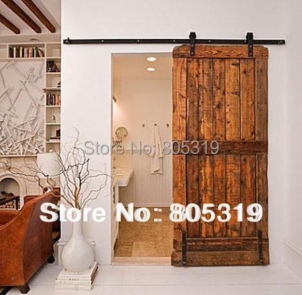 6.6FT Modern Sliding Barn Door Hardwareu0026Interior Sliding Wooden Door Kit