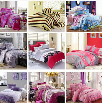 Bedding Sets 4pcs/Bed set Cotton include Duvet Cover Bed sheet Pillowcase Design Printing duvet cover - Natali Colthes Co.,LTD store