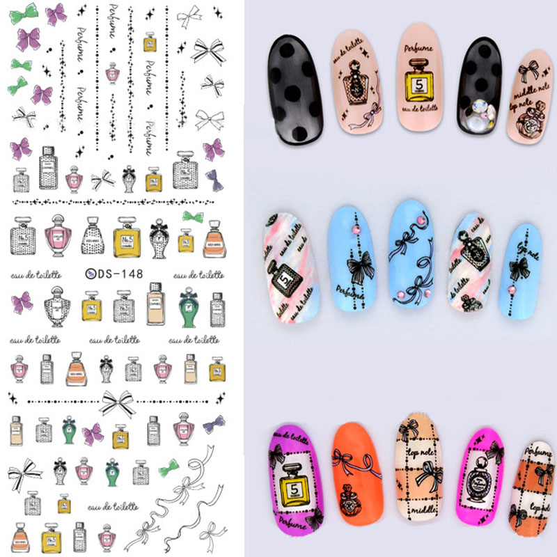 Perfume And Water Tattoo: Romantic Perfume Nail Stickers Water Transfer Decals