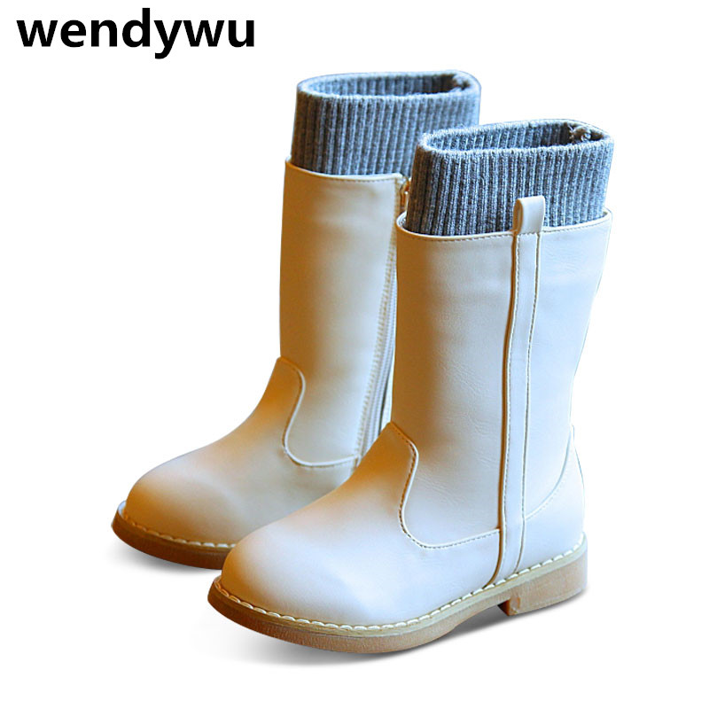 2107 Hot autumn winter brand warm boots baby girls pu leather boots for children black boots toddler fashion knee high boots купить цепь и звезды ваз 2107
