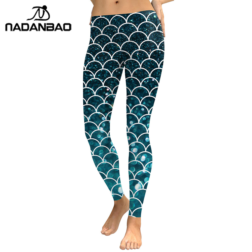 NADANBAO New Summer 2019 Women Leggings Mermaid Glitter Digital Print Legging Silm Legins High Waist Sporting Workout Pants