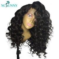 Xcsunny Glueless натуральные волосы перуанский 13*6 глубокий часть Синтетические волосы на кружеве парик с волосами младенца предварительно выщипа