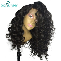 xcsunny Glueless Human Hair Peruvian 13*6 deep part Lace Front Wig With Baby Hair Preplucked Bouncy curly 130% Density Remy Hair