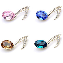 Eighth Note Crystal Women's Brooch (4 Colors)