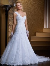 2015 Brazil Hot Sale One Straps Wedding Dress With Removable Train
